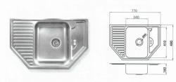 Dřez nerez rohový s odkp.plochou 770/490
